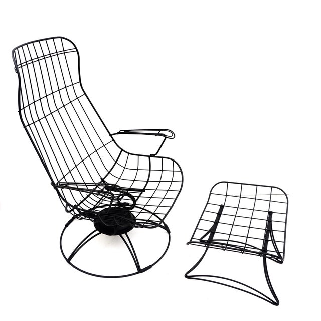 Mid-Century Modern Mid-Century Homecrest Metal Wire Patio Chairs & Ottoman    Indoor/Outdoor High Back Swivel Rocker Lounger Footstool Original Cushions Included For Sale - Image 3 of 10