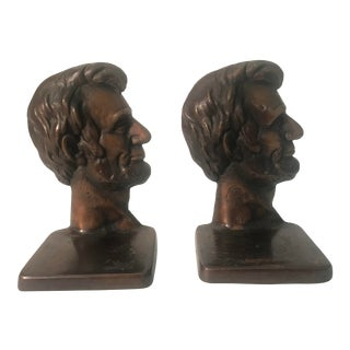 Abraham Lincoln Bronze Bookends - a Pair For Sale
