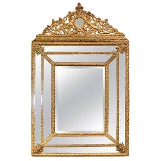 19th Century Dutch Gilded Repoussé Cushion Mirror