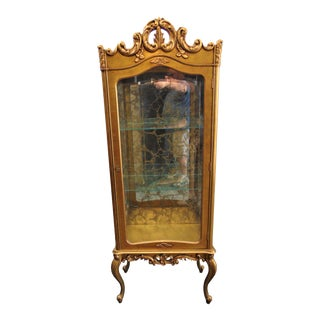 French Style Carved Gold Curio Cabinet For Sale