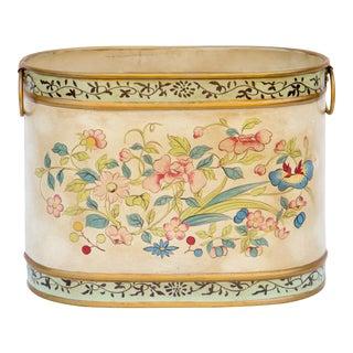 Vintage Floral Oval Wastebasket For Sale