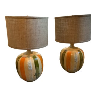 1970's Boho Chic Ceramic Table Lamps with Shades - a Pair For Sale