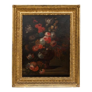 19th Century Floral Still Life Oil Painting in Gold Frame For Sale