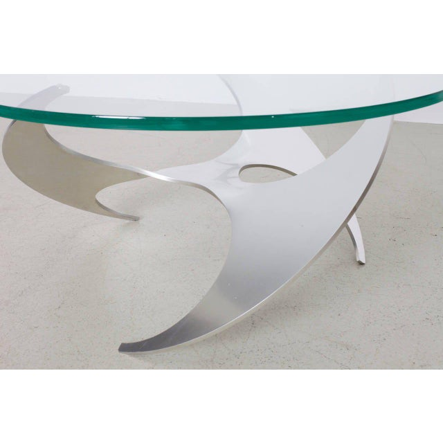 Very nice coffee or cocktail table in form of a propeller made of alumnium. The table was designed by Knut Hesterberg for...