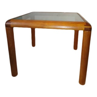 Danish Modern D-Scan Teak End Table With Lightly Smoked Glass For Sale