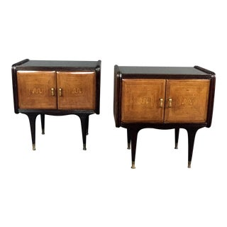 Pair of 1950s Italian Rosewood and Lacquered Nightstands For Sale