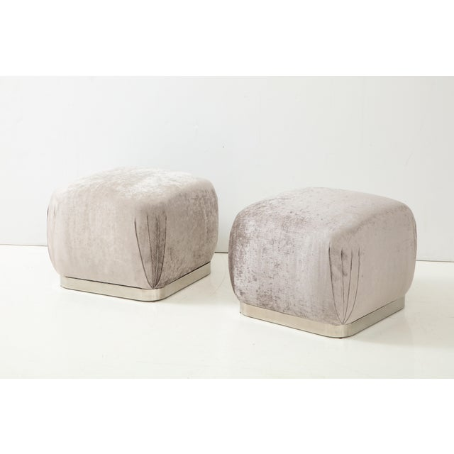 Contemporary Souffle Ottomans or Poufs by Karl Springer - a Pair For Sale - Image 3 of 10