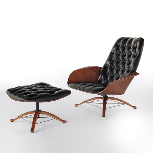 Presenting this Mid Century Mr. Chair Lounge Chair with Ottoman by George Mulhauser for Plycraft. This early edition Mr...