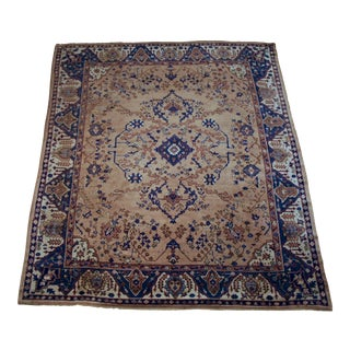 """Turkish Oushak Hand-Knotted Wool Blue Rug 9'-6"""" X 10'-9"""" For Sale"""