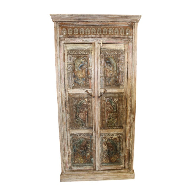 Antique Haveli Carved Rustic Armoire For Sale - Image 9 of 9