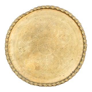 19th Century Moorish Brass Engraved Platter For Sale