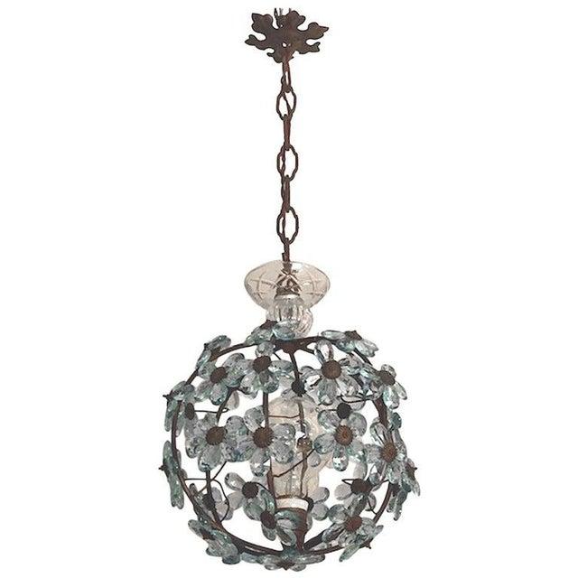 Italian Crystal Flower Pendant Light For Sale - Image 12 of 12
