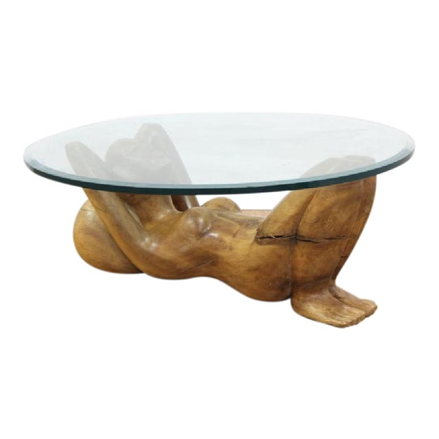 Hand Carved Teak Woman Coffee Table