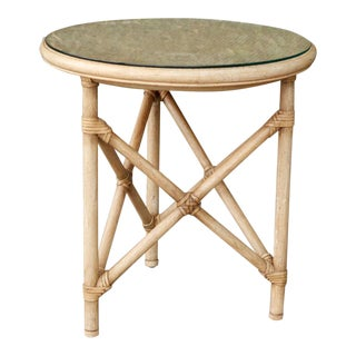 McGuire Style Rattan Side Table For Sale