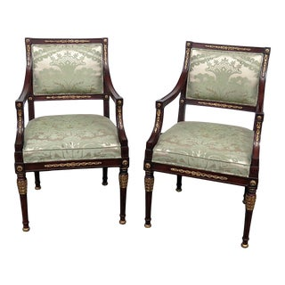 1970s Vintage Schumacher Empire Style Arm Chairs- A Pair For Sale