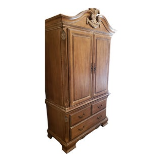 Lexington White Washed Ornate Armoire For Sale
