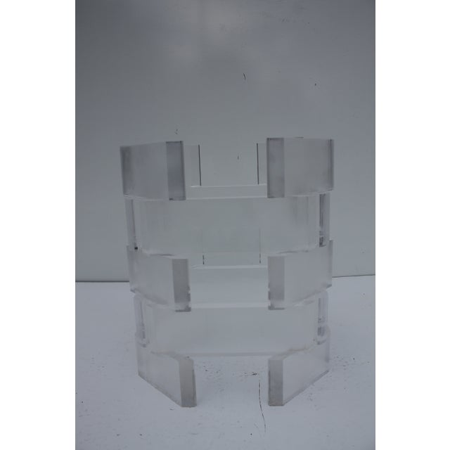 Sculptural Stacked Lucite & Glass Top Side Table - Image 4 of 10