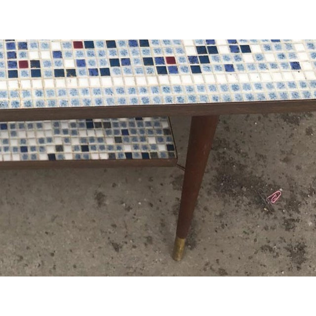 Wood Vintage Mid-Century Modern Mosaic Tile Occasional Table For Sale - Image 7 of 9
