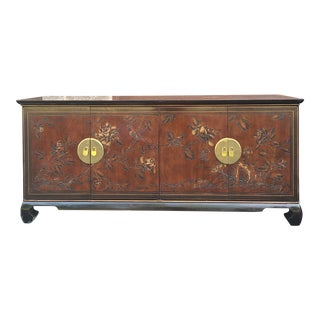 Vintage Chinoiserie Drexel Connoisseur Lacquered Mahogany Credenza For Sale