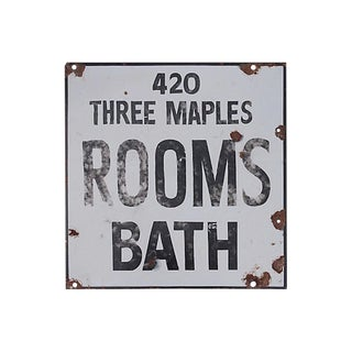 Rooms Bath Porcelain Sign For Sale