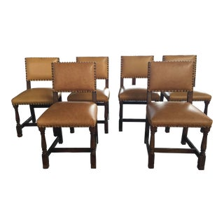 6 Leather and Wood Dining Chairs With Nail Head Trim For Sale