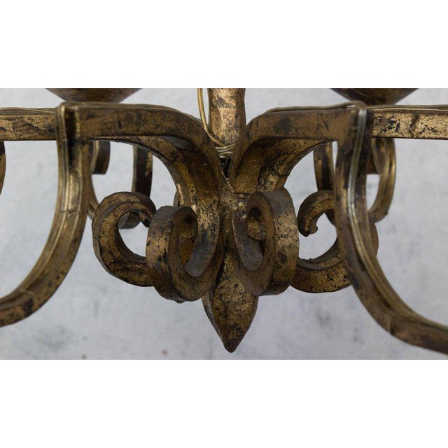 Iron Unusual Spanish 19th Century Eight-armed Chandelier With Twisted Metal Stem For Sale - Image 7 of 10