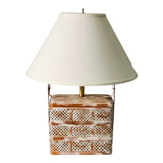 Asian White Washed Rice Basket Lamp With Rattan Weave and Brass Hardware and Original White Linen Shade For Sale