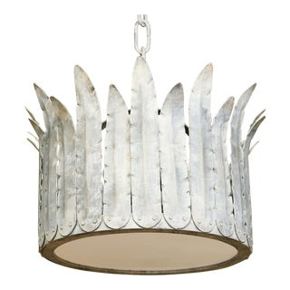 "Hand-Crafted Iron ""Fairfield"" Crown Light in Silver For Sale"