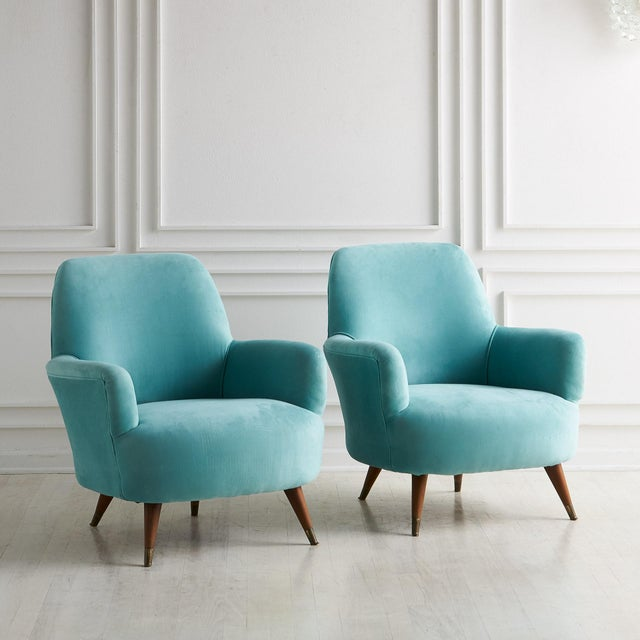 Wood Pair of Italian Upholstered Lounge Chairs C.1960 For Sale - Image 7 of 7