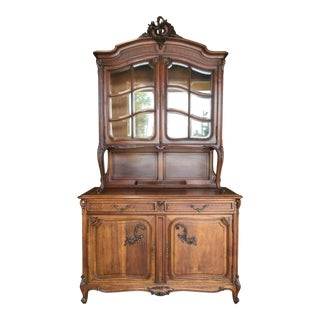 Antique French Walnut China Cabinet For Sale