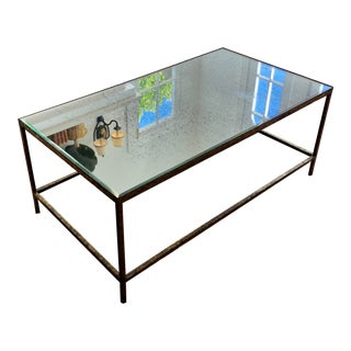 Modern Gilt Metal Antiqued Mirror Top Coffee Cocktail Table For Sale