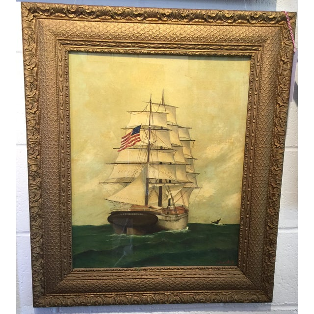 Vintage American Sailboat Painting - Image 2 of 8