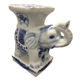 Blue and White Elephant Stand For Sale
