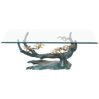 Brass Bonsai Tree Coffee or Side Table in the Manner of Willy Daro For Sale