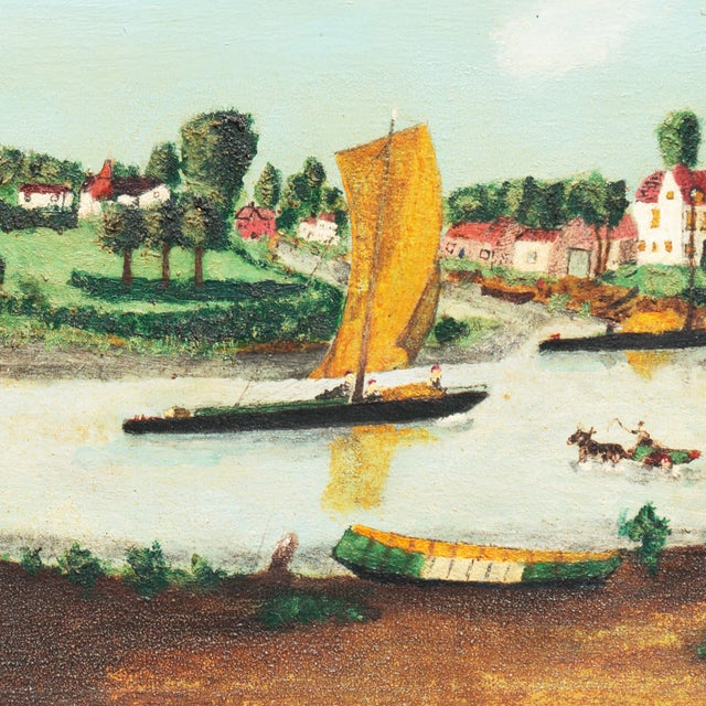 Folk Art Early American Settlement on a River For Sale - Image 3 of 11