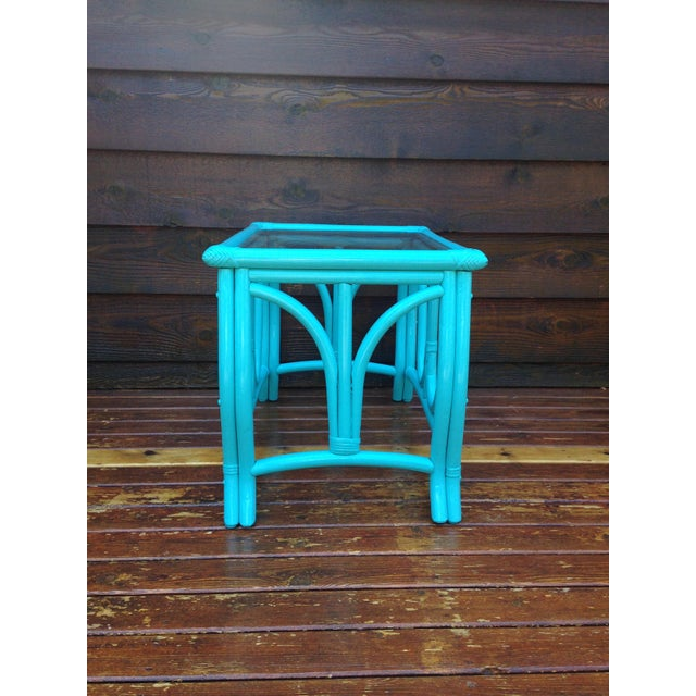Blue Vintage Rattan Table - Image 3 of 7