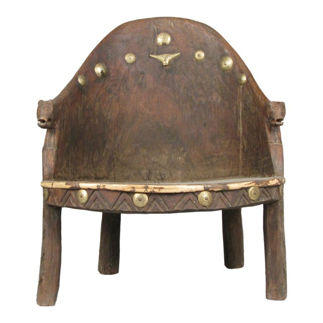 Carved Chief's Chair From Nagaland, India For Sale