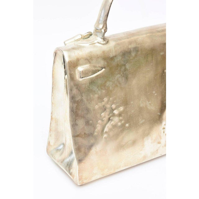Bronze Silvered Bronze Limited Edition French Christian Maas Birkin Bag Sculpture For Sale - Image 8 of 11