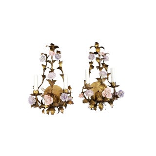 Liliac and Pink Floral Italian Sconces - a Pair For Sale
