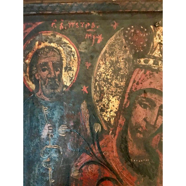 This exceptional icon was created the late 1600s in Russia. Icons are considered to be gospel in paint. This one depicts...