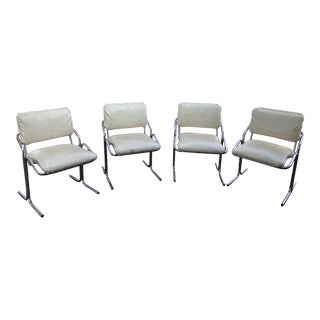 Vintage Mid Century Milo Baughman Style Dining Chairs- Set of 4 For Sale