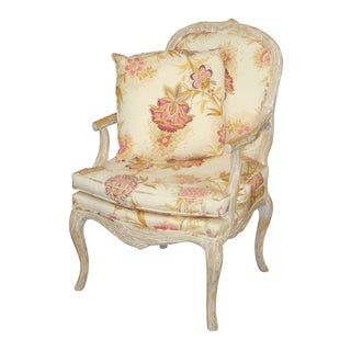 Italian White Washed Faux Bois Bergere Chair