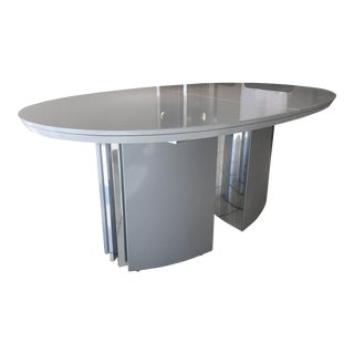 Chrome and Lacquered Rougier Dining Table 1970's Signed For Sale