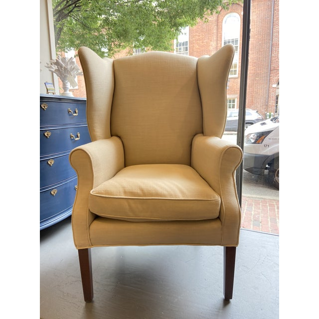 Traditional 1920s Antique Mahogany, Belgian Linen and Down Cushion Wingback Chairs - a Pair For Sale - Image 3 of 12