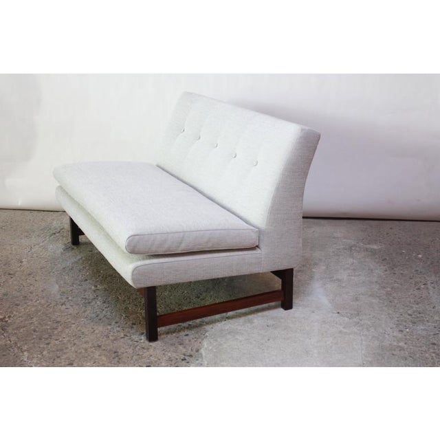 Danish Modern Settee in Chenille and Rosewood - Image 2 of 10