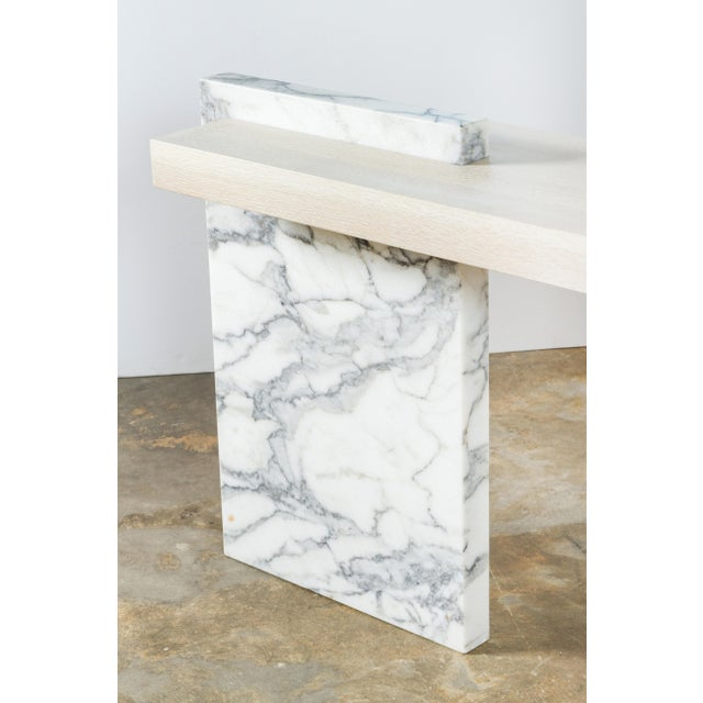 Paul Marra Marble and Bleached Oak Console For Sale - Image 9 of 11