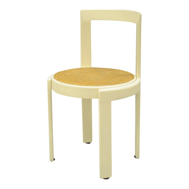 Vintage Thonet Style Italian Mid-Century Modern Round White Cane Seat Side Chair - Image 1 of 10