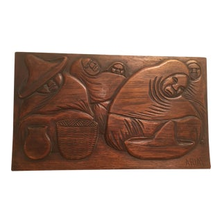Vintage Mexico Woodcarving Slice of Mexican Life Signed Arias For Sale