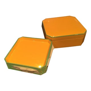 Vintage Yellow & Turquoise Lacquer Coaster Set