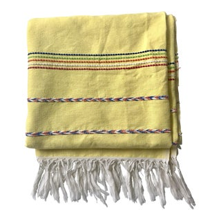 Yellow Throw Blanket With Fringe